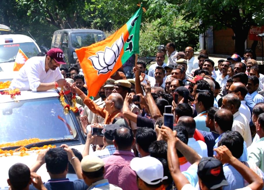 Actor and BJP's Lok Sabha candidate from Gurdaspur, Sunny Deol reaches out to his supporters during a roadshow ahead of the 2019 Lok Sabha elections, in Punjab's Sujanpur on May 3, 2019.