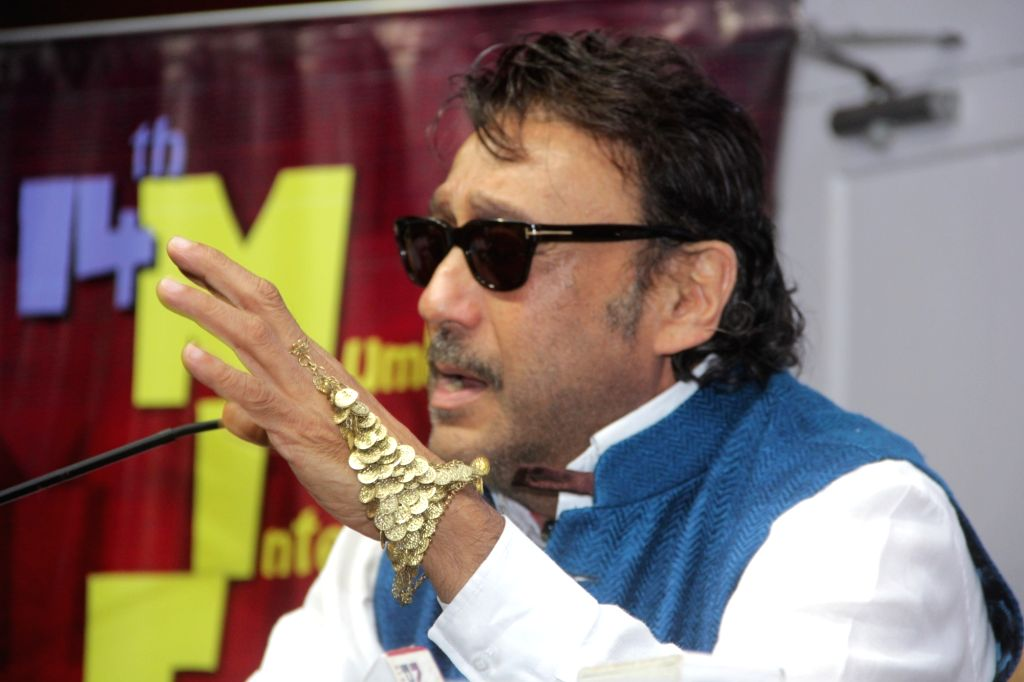 Actor and Brand Ambassador of MIFF, Jackie Shroff addressing a press conference, at the 46th International Film Festival of India (IFFI-2015), in Panaji, Goa on Nov 25, 2015.