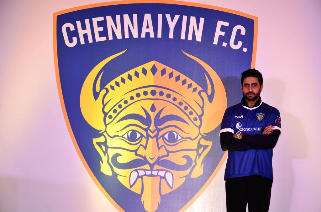Actor and Chennaiyin FC co-owner Abhishek Bachchan announce the players of his team during a press conference in Mumbai on Oct. 9, 2014.