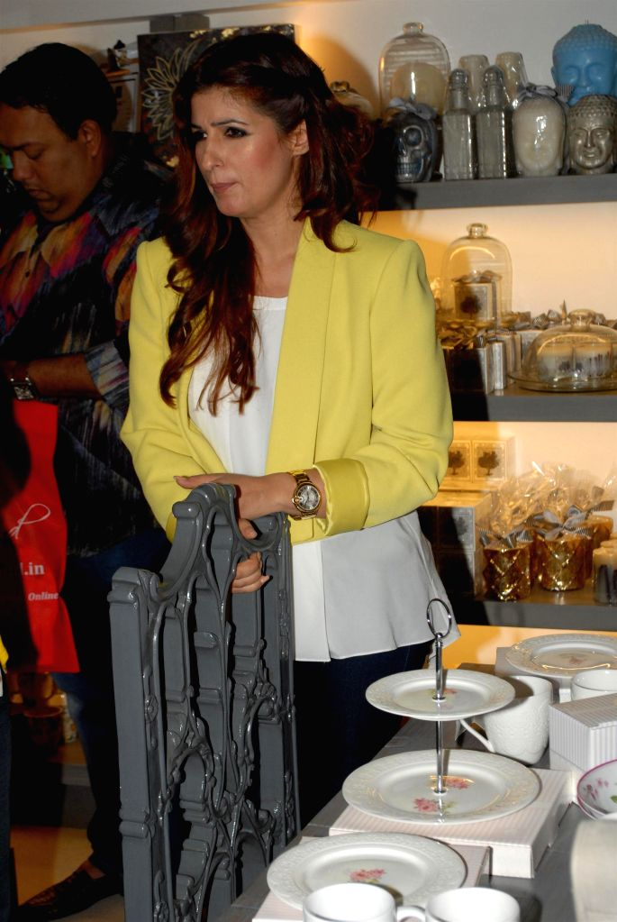 Actor and interior designer Twinkle Khanna during the preview of the latest Flower Power Collection at The White Window store in Mumbai, on July 31, 2014.