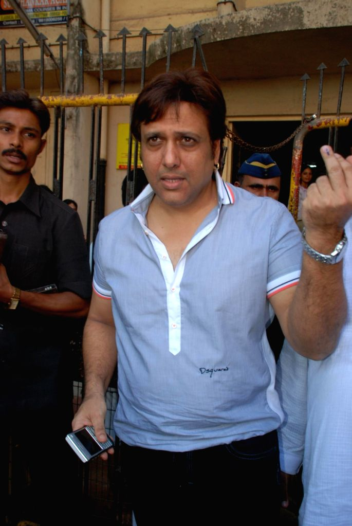 Actor and MP Govinda casting his vote in Mumbai.