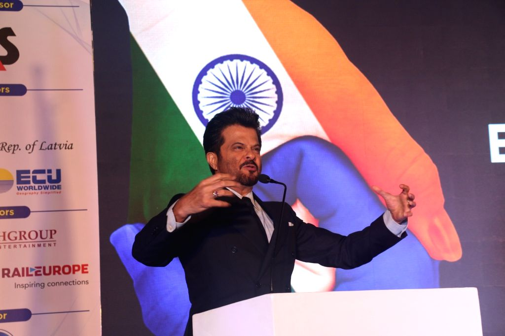 Actor Anil Kapoor addresses during 'Europe Day' celebrations where he was felicitated by the Council of European Chambers of Commerce (CEUCC) in India and an European Union delegation, in ... - Anil Kapoor