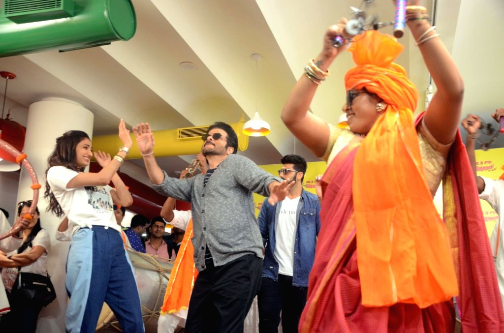 "Actor Anil Kapoor, Arjun Kapoor, Ilena D'Cruz and Athiya Shetty during the song launch ""Goggle Pake"" from their upcoming film ""Mubarakan"" at Radio Mirchi Studio in Mumbai on July ... - Anil Kapoor, Arjun Kapoor and Athiya Shetty"