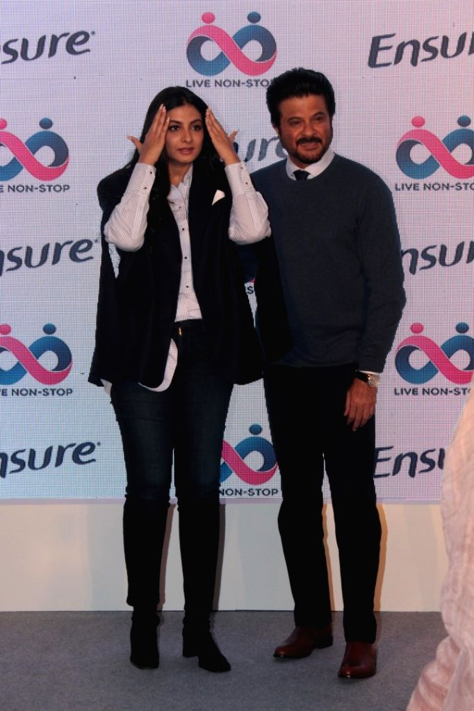 Actor Anil Kapoor with producer Rhea Kapoor during a programme in Mumbai on April 25, 2017. - Anil Kapoor