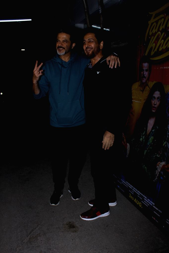 """Actor Anil Kapoor with singer Gurdas Maan at the special screening of upcoming film """"Fanney Khan"""", in Mumbai on Aug 1, 2018. - Anil Kapoor and Fanney Khan"""