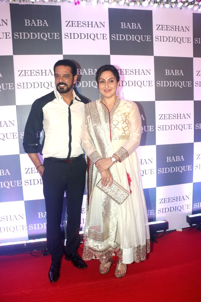 Actor Anup Soni and his wife-actress Juhi Babbar at Congress leader Baba Siddique's Iftar party in Mumbai, on June 2, 2019. - Anup Soni