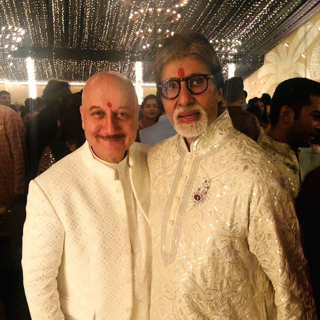Actor Anupam Kher and Amitabh Bachchan during a Diwali party hosted by Bachchan at his residence Jalsa in Mumbai. - Anupam Kher and Amitabh Bachchan