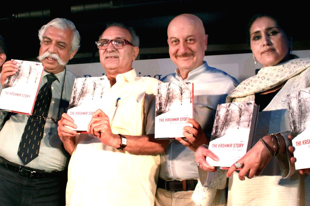 "Actor Anupam Kher and Major General (Retired) GD Bakshi at the launch of the book  ""The Kashmir Story through the Ages"" in New Delhi, on April 18, 2016. - Anupam Kher"