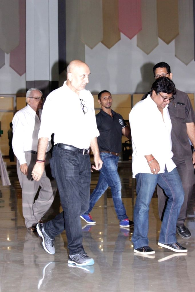Actor Anupam Kher  during the prayer meeting for Suniel Shetty's father Veerapa Shetty in Mumbai on March 4, 2017. - Anupam Kher, Suniel Shetty and Veerapa Shetty