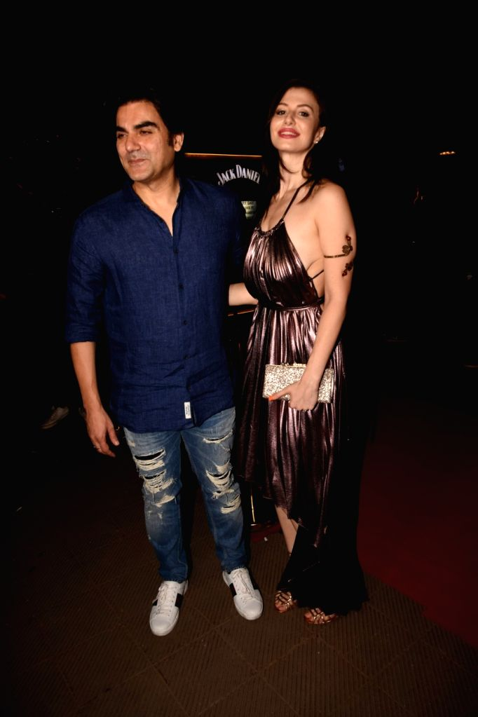 Actor Arbaaz Khan and model Giorgia Andriani during a programme in Mumbai on Sept 6, 2018. - Arbaaz Khan