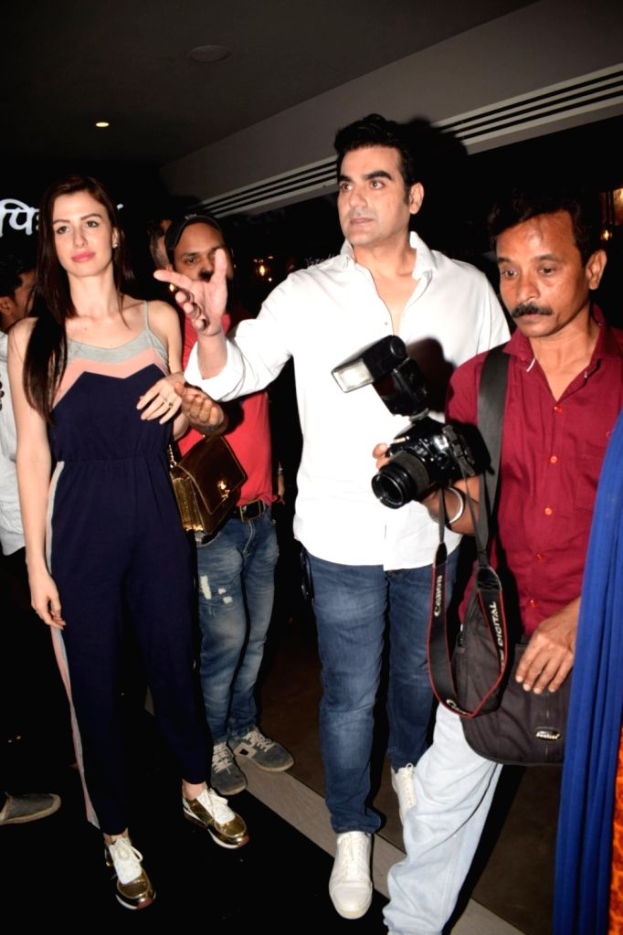 "Actor Arbaaz Khan and model Giorgia Andriani at the special screening of his film ""Jack and Dil"" in Mumbai on Nov 1, 2018. - Arbaaz Khan"