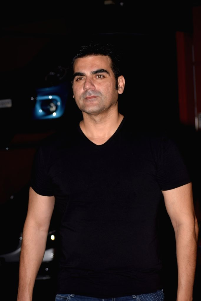 Actor Arbaaz Khan at Arpita Khan's residence for Pre-Diwali celebration in Mumbai on Oct 13, 2017. - Arbaaz Khan and Arpita Khan