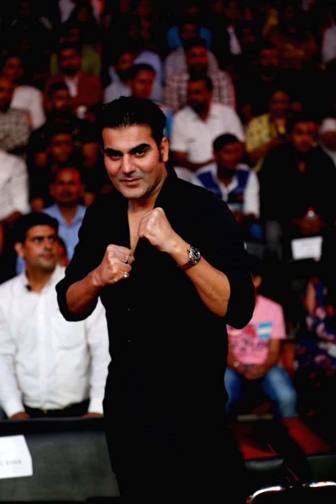 Actor Arbaaz Khan during the Grand Finale of Super Boxing League (SBL) at DDA Squash and Badminton Stadium in New Delhi on Aug 12, 2017. - Arbaaz Khan