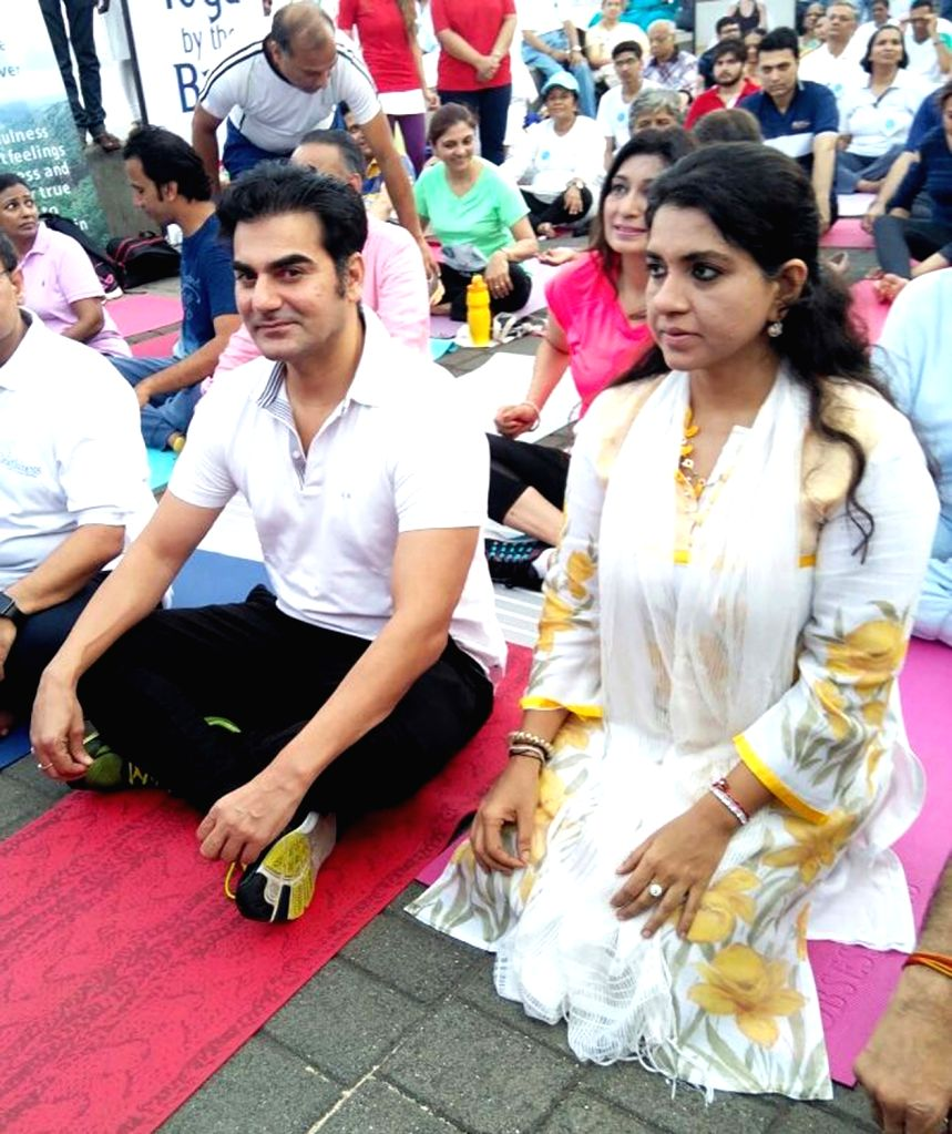 Actor Arbaaz Khan practices Yoga Asans  -postures- on International Yoga Day in Mumbai on June 21, 2017. - Arbaaz Khan