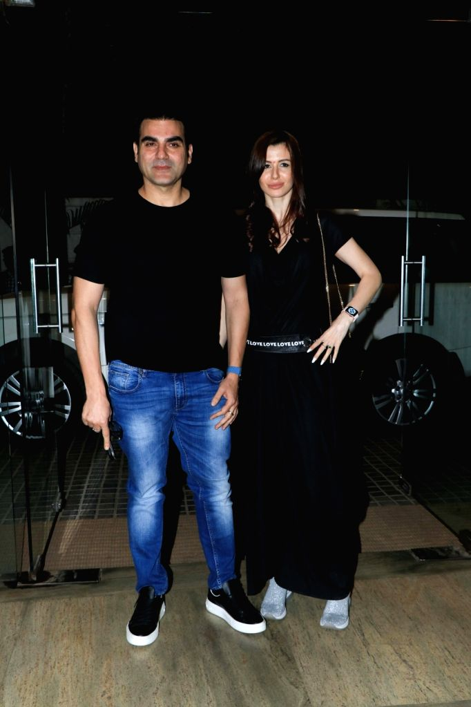 "Actor Arbaaz Khan with his girlfriend Georgia Andriani at the screening of the upcoming film ""Ek Ladki Ko Dekha Toh Aisa Laga"" in Mumbai, on Jan 30, 2019. - Arbaaz Khan"