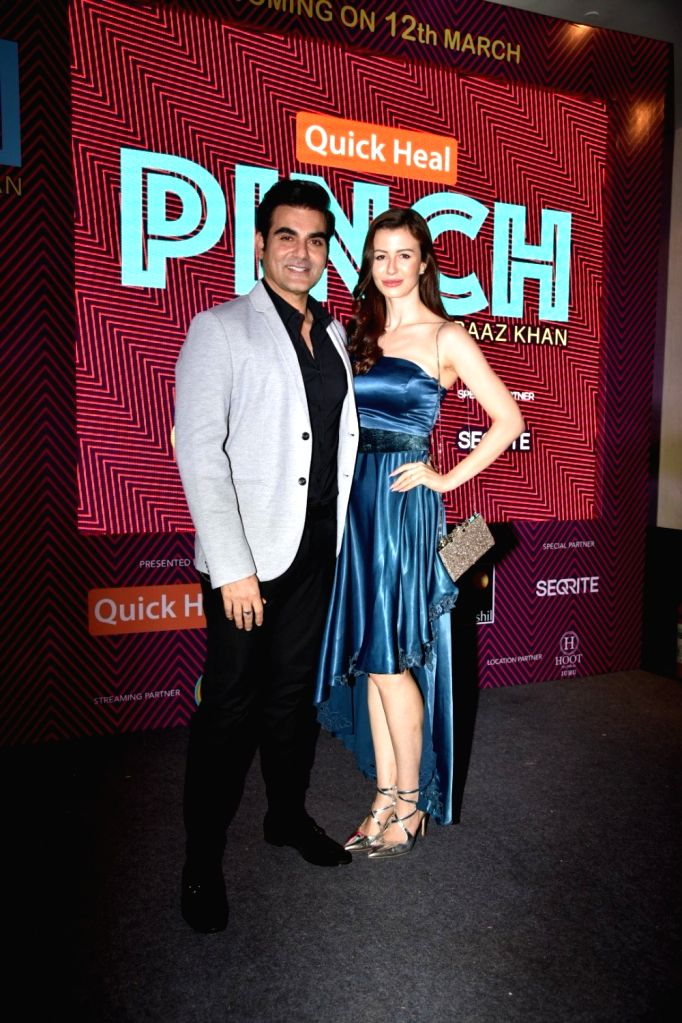 "Actor Arbaaz Khan with his girlfriend Giorgia Adriani during the debut of his celebrity chat show ""Pinch"" in Mumbai, on March 6, 2019. - Arbaaz Khan"