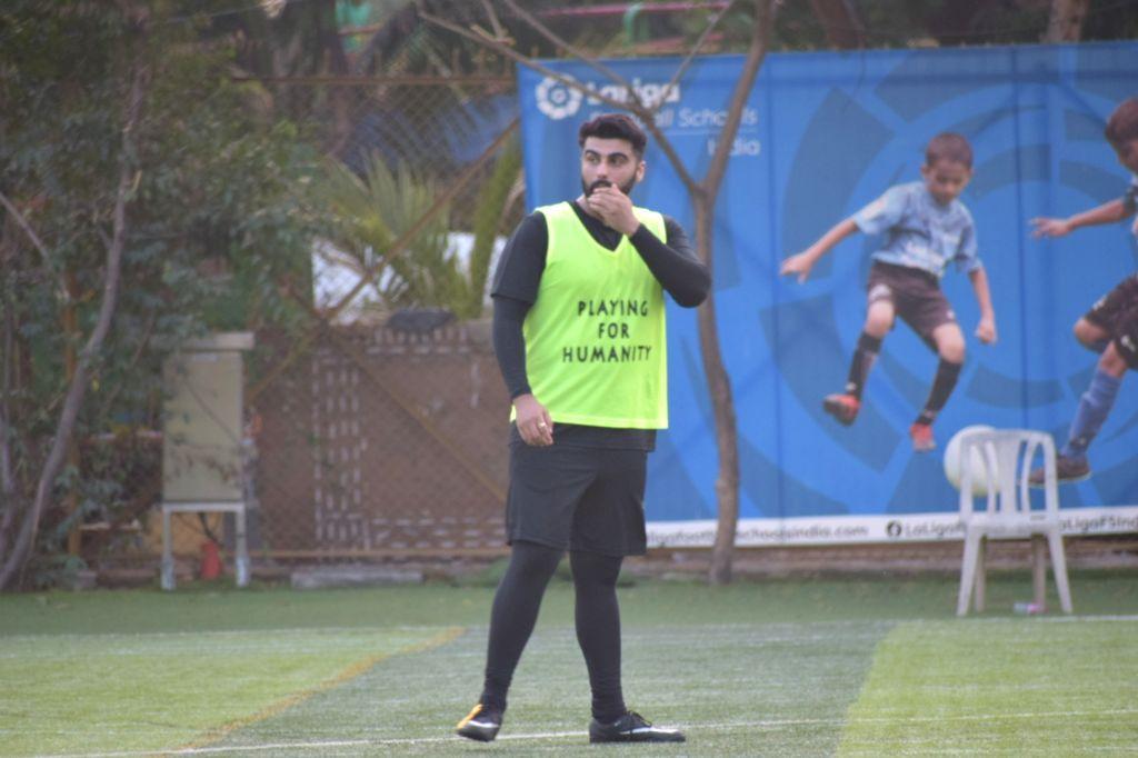 Actor Arjun Kaoor during a football match at Juhu in Mumbai on Feb 5, 2020. - Arjun Kaoor