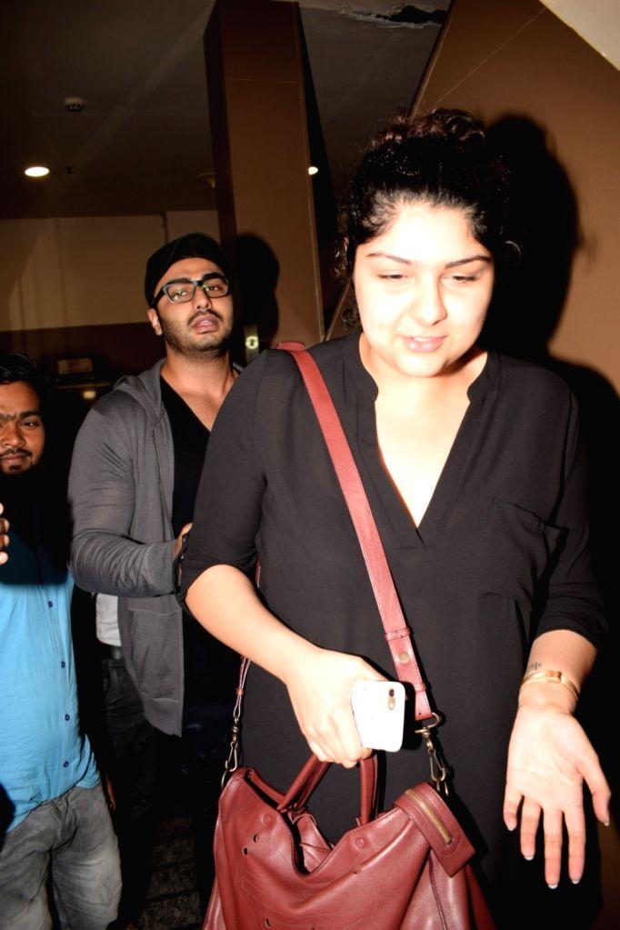 Actor Arjun Kapoor along with his sister Anshula Kapoor seen at cinema theater in Juhu, Mumbai on Feb 6, 2018. - Arjun Kapoor and Anshula Kapoor