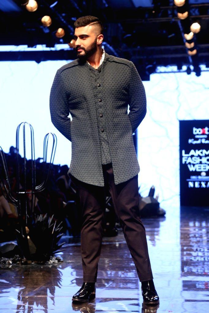 actor Arjun Kapoor at the Lakme Fashion Week Winter/Festive 2019 in Mumbai on Aug 24, 2019. - Arjun Kapoor