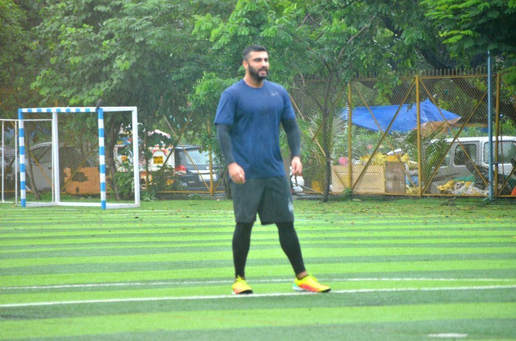 Actor Arjun Kapoor during a football match at Juhu in Mumbai on Aug 3, 2019. - Arjun Kapoor
