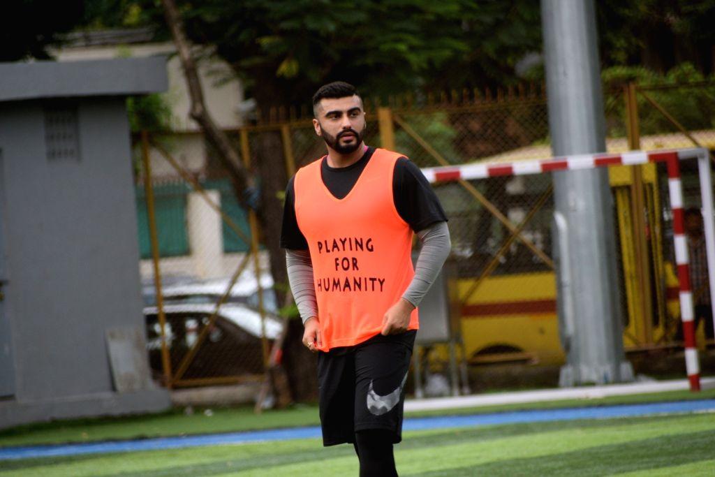 Actor Arjun Kapoor during a football match at Juhu in Mumbai on Aug 25, 2019. - Arjun Kapoor