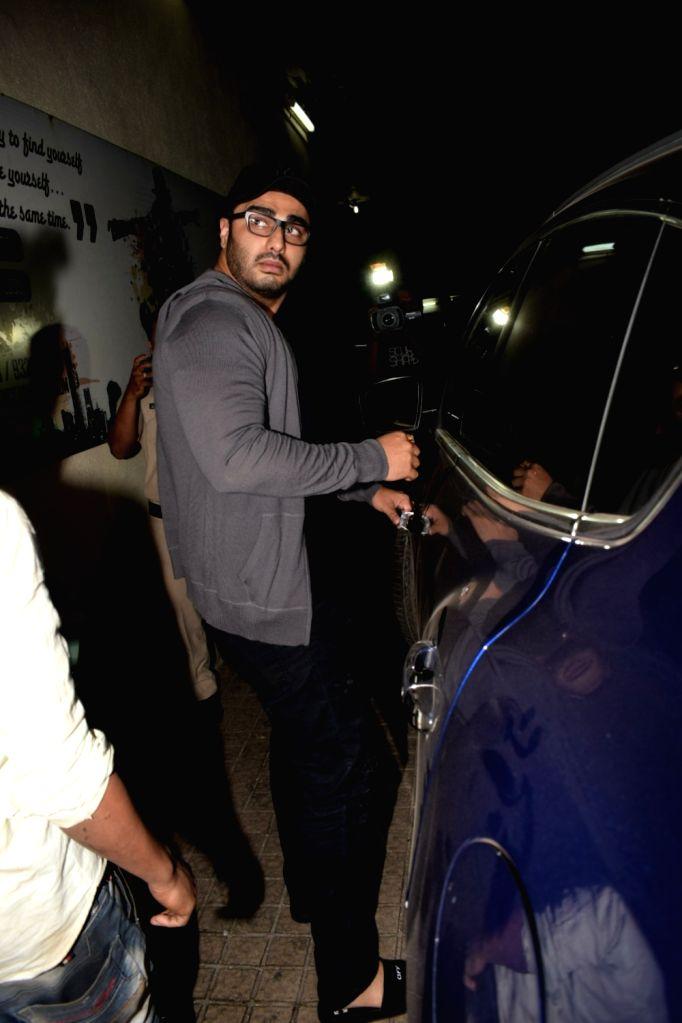 Actor Arjun Kapoor seen at cinema theater in Juhu, Mumbai on Feb 6, 2018. - Arjun Kapoor