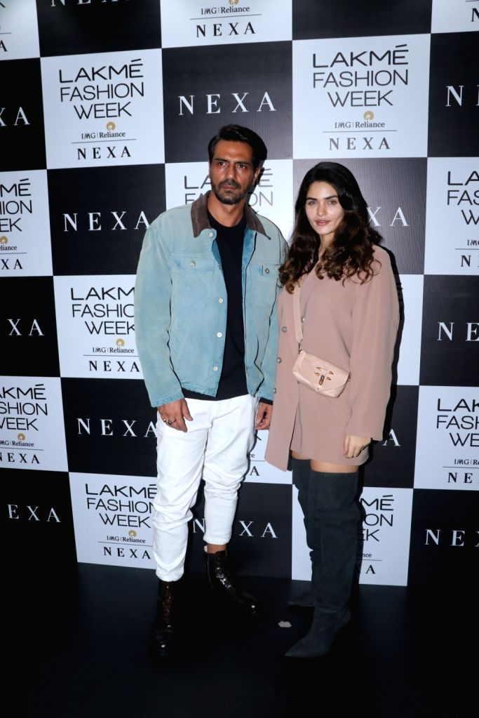 Actor Arjun Rampal and his girlfriend Gabriella Demetriades at the Lakme Fashion Week Winter/Festive 2019 in Mumbai on Aug 24, 2019. - Arjun Rampal