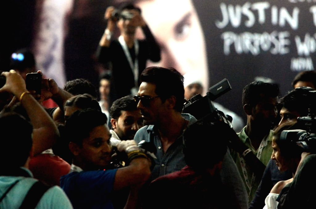 Actor Arjun Rampal arrives to attend Justin Bieber's show at DY Patil Stadium in Mumbai, on May 10, 2017. - Arjun Rampal
