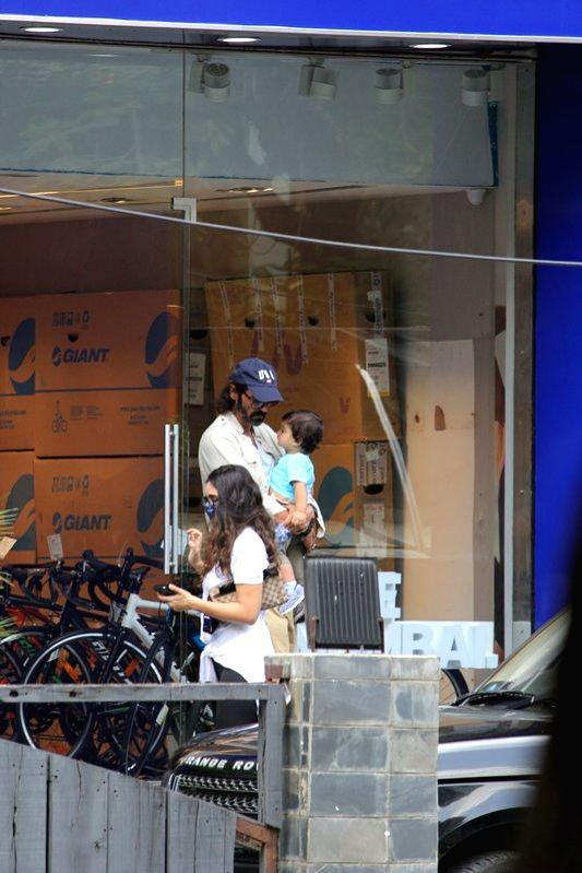 Actor Arjun Rampal seen with his girlfriend Gabriella Demetriades and their son Arik at Bandra in Mumbai on July 11, 2020. - Arjun Rampal