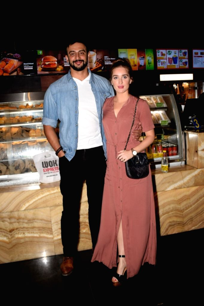 """Actor Arunoday Singh along with his wife Lee Elton at the special screening of his upcoming film """"Blackmail"""" in Mumbai on April 4, 2018. - Arunoday Singh"""