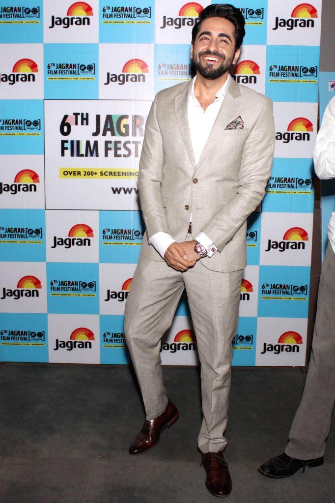 Actor Aushman Khurana at the Jagran Film Festival in New Delhi on July 2, 2015. - Aushman Khurana