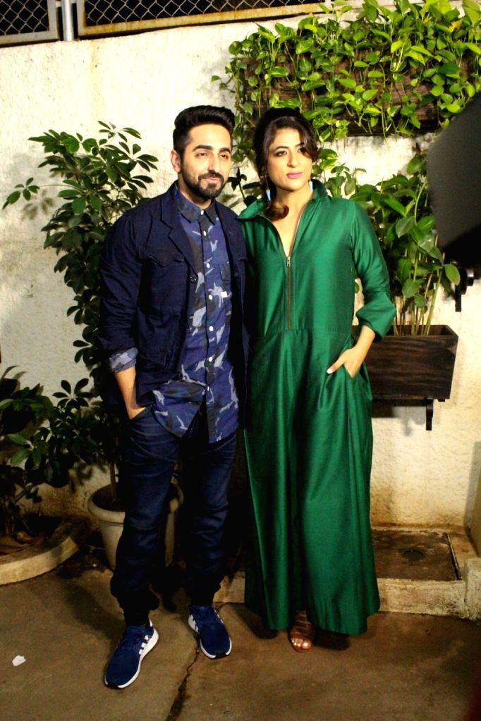 "Actor Ayushman Khurana along with his wife Tahira Kashyap during the special screening of  upcoming film ""Bareilly Ki Barfi"" in Mumbai on Aug 16, 2017. - Ayushman Khurana and Tahira Kashyap"