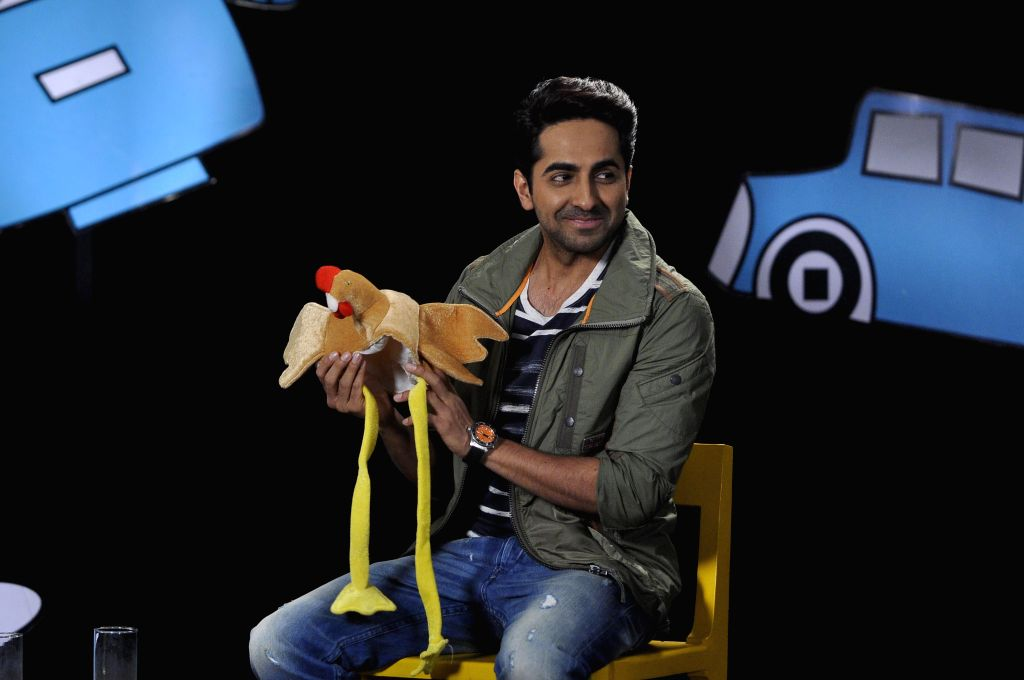 Actor Ayushman Khurana on the set of Disneys Chat Show Captain Tiao in Mumbai on July 12, 2014.