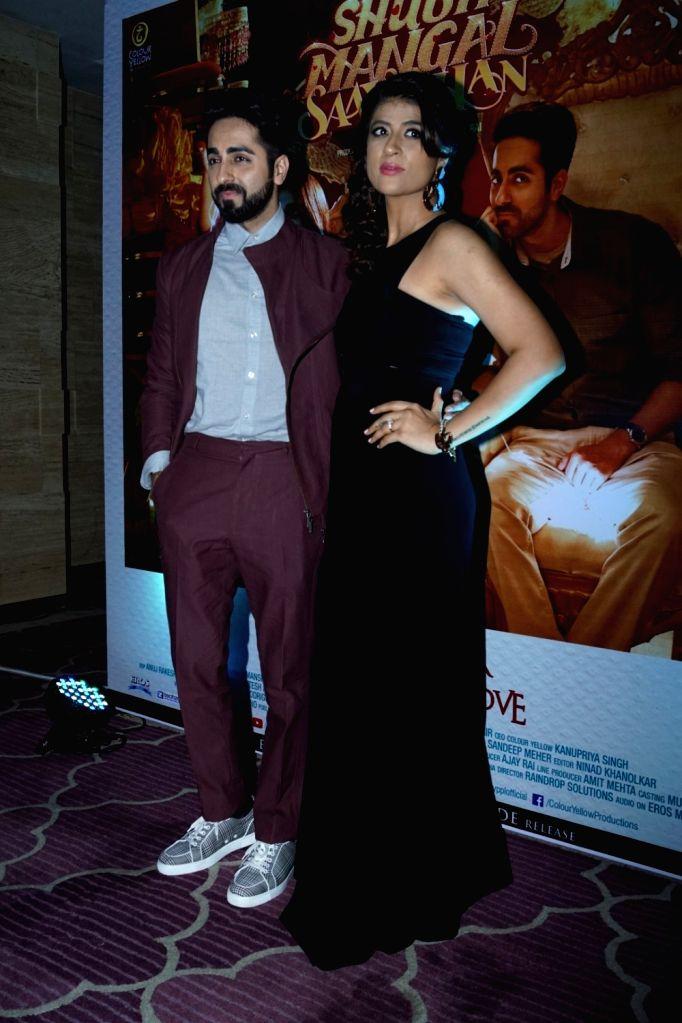 "Actor Ayushmann Khurrana along with his wife Tahira Kashyap during the success party of film ""Shubh Mangal Savdhan"" in Mumbai on Sept 12, 2017. - Ayushmann Khurrana and Tahira Kashyap"