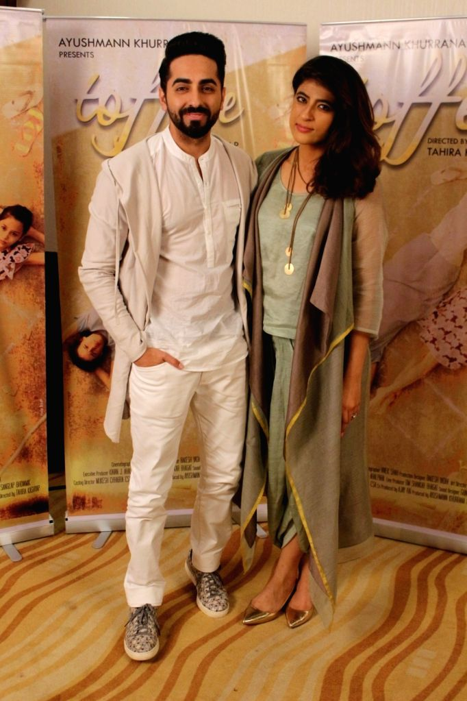 "Actor Ayushmann Khurrana along with his wife Tahira Kashyap during an interview for film ""Toffee"" in Mumbai on Oct 12, 2017. - Ayushmann Khurrana and Tahira Kashyap"