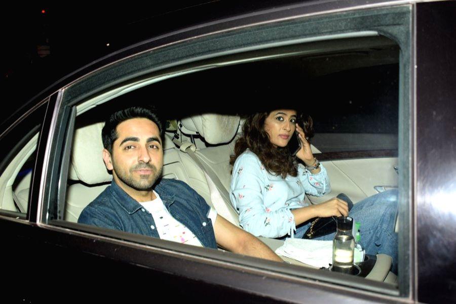 "Actor Ayushmann Khurrana along with his wife Tahira Kashyap at the special screening of upcoming film ""Pad Man"" in Mumbai on Feb 7, 2018. - Ayushmann Khurrana and Tahira Kashyap"