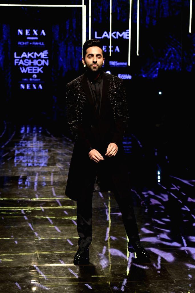 Actor Ayushmann Khurrana at the Lakme Fashion Week Winter/Festive 2019 in Mumbai on Aug 24, 2019. - Ayushmann Khurrana