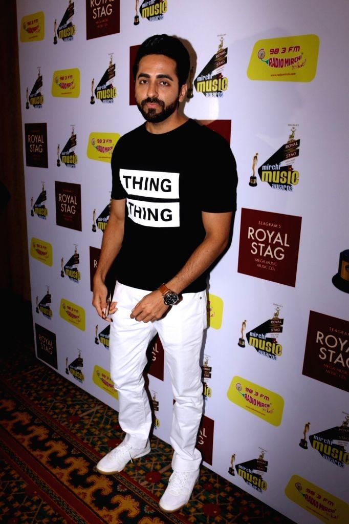 Actor Ayushmann Khurrana during Radio Mirchi Music Awards in Mumbai on Jan 24, 2016. - Ayushmann Khurrana