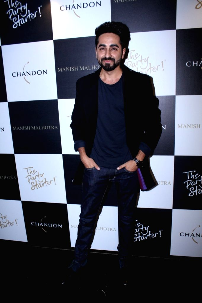 Actor Ayushmann Khurrana during the launch of Manish Malhotra X Chandon Champagne bottles Limited Edition End Of Year 2017 in Mumbai on Oct 9, 2017. - Ayushmann Khurrana