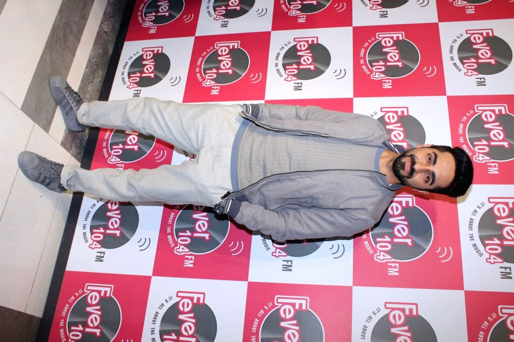 "Actor Ayushmann Khurrana during the promotion of the song 'Kanha' from his upcoming film ""Shubh Mangal Savdhan"" at Fever 104 FM station in Mumbai on Aug 17, 2017. - Ayushmann Khurrana"