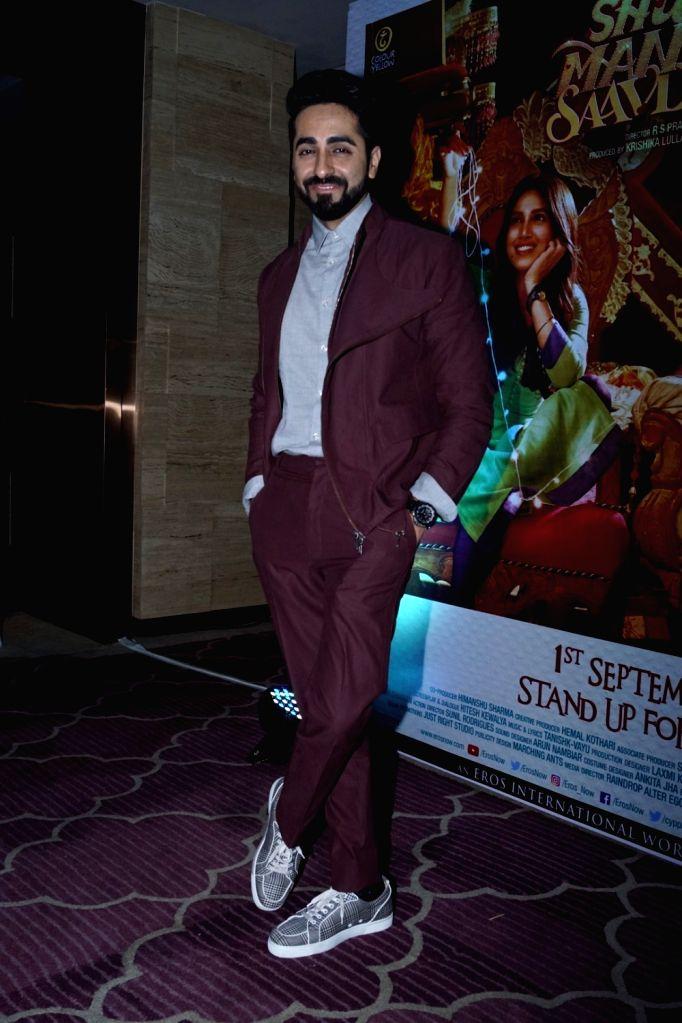 "Actor Ayushmann Khurrana during the success party of film ""Shubh Mangal Savdhan"" in Mumbai on Sept 12, 2017. - Ayushmann Khurrana"