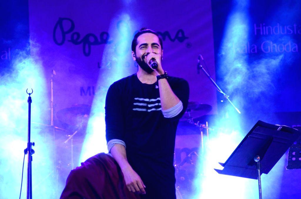 Actor Ayushmann Khurrana performs during the closing ceremony of Kala Ghoda Arts Festival in Mumbai, on Feb 14, 2016. - Ayushmann Khurrana