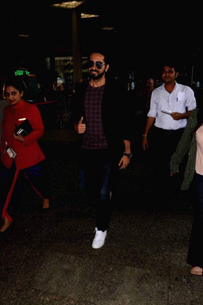 Actor Ayushmann Khurrana spotted at Chhatrapati Shivaji Maharaj International airport in Mumbai on Aug 12, 2017. - Ayushmann Khurrana
