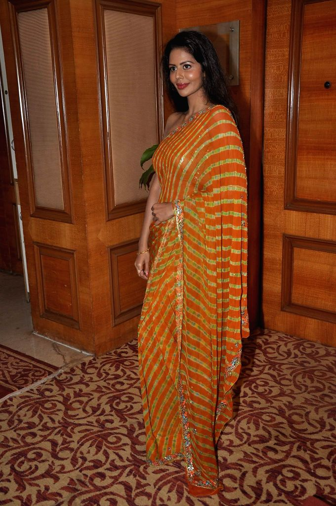 Actor Bhairavi Goswami during the launch of Indian National Anthem video, in Mumbai on Aug 15, 2014. - Bhairavi Goswami