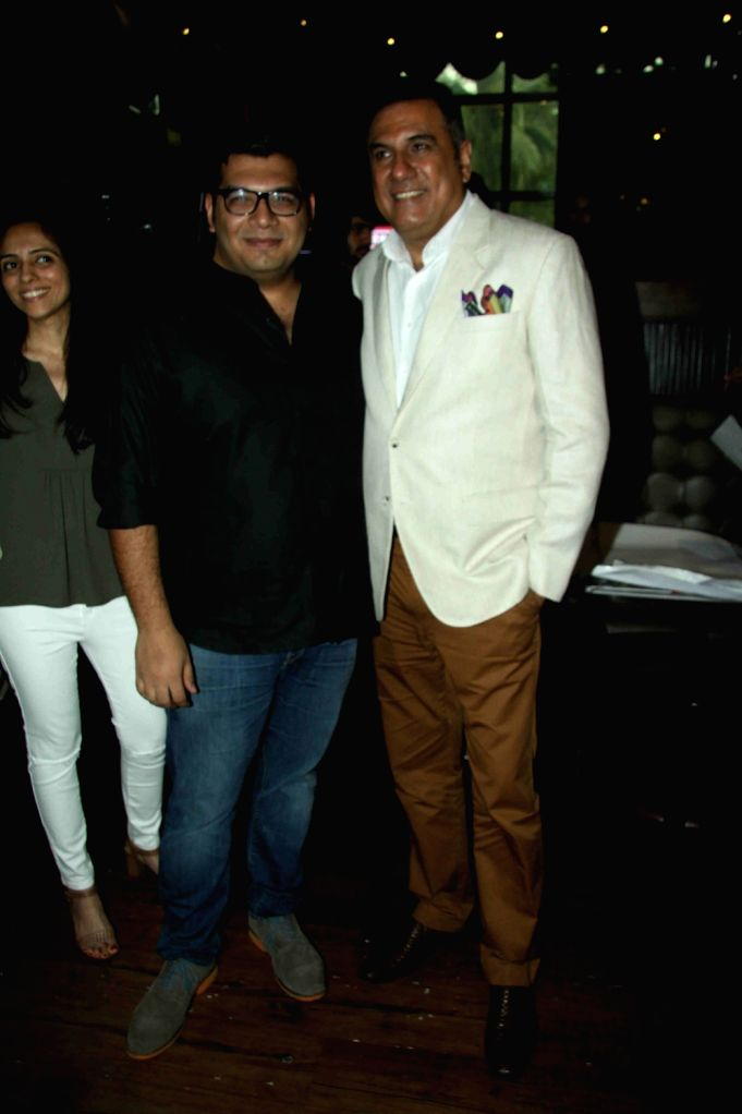 Actor Boman Irani with his son and actor Kayoze Irani during the music launch of the upcoming film The Legend of Michael Mishra in Mumbai on July 20, 2016. - Boman Irani, Kayoze Irani and Mishra