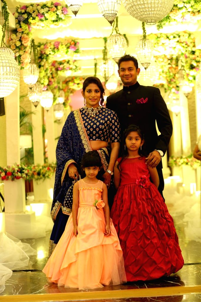 Actor Chiranjeevi elder daughter Susmita with husband at Srija Wedding Reception. - Chiranjeevi