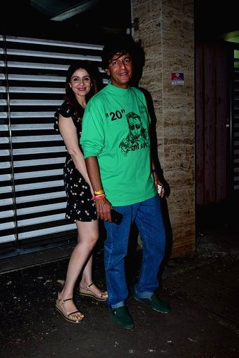 Actor Chunky Pandey and his wife Bhavana Pandey at sports agent Bunty Sajdeh's party in Mumbai on March 13, 2020. - Chunky Pandey and Bhavana Pandey