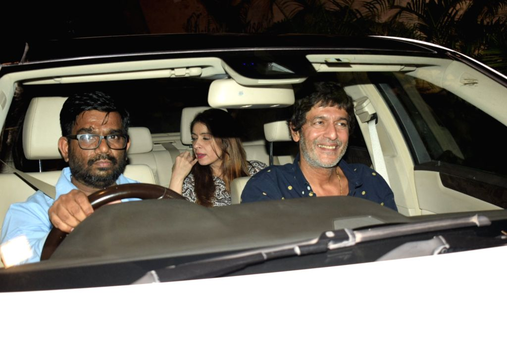 Actor Chunky Pandey and his wife Bhavna Pandey arrive to attend designers Abu Jani and Sandeep Khosla's party in Mumbai on Dec 9, 2017. - Chunky Pandey and Bhavna Pandey
