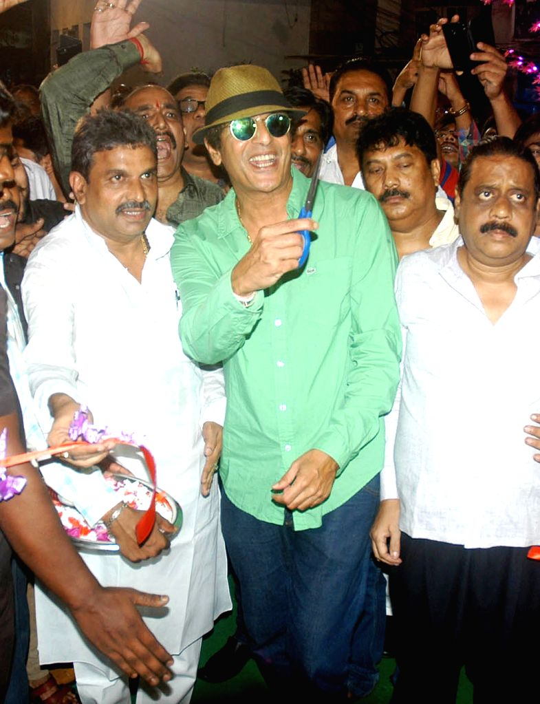 Actor Chunky Pandey during inauguration of a Kali Puja pandal in Kolkata on Oct 28, 2016. - Chunky Pandey