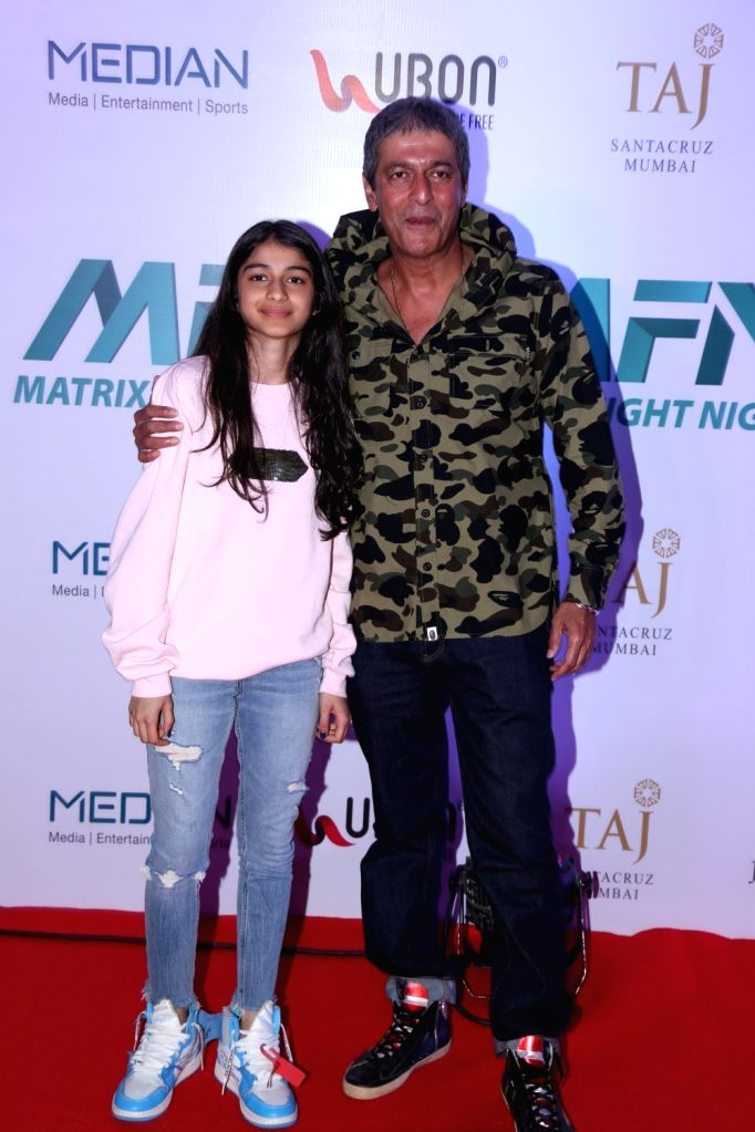 Actor Chunky Pandey with his daughter Rysa Pandey at Matrix Fight Night Red Carpet in Mumbai, on March 12, 2019. - Chunky Pandey and Rysa Pandey
